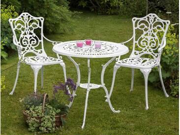 MERXX Gartenmöbelset »Lugano«, 3tlg., 2 Stühle, Tisch Ø 70, Aluminium, weiß, weiß