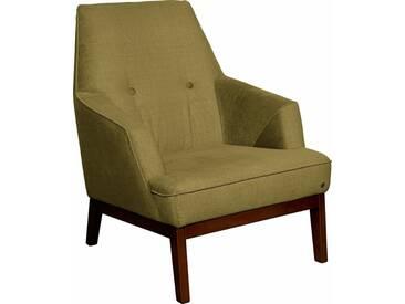 TOM TAILOR Sessel »COZY«, im Retrolook, mit Kedernaht und Knöpfung, Füße nussbaumfarben, grün, gold mustard STC 13