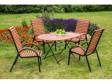 MERXX Gartenmöbelset »Schloßgarten«, 5tlg., 4 Sessel, Tisch, stapelbar, klappbar, Eukalyptus, natur, natur