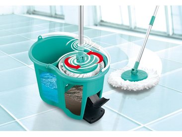 CLEANmaxx Wischmopp Basis-Set & Ersatz-Moppaufsatz, 0 Watt, grün, Basis-Set 3-teilig + Ersatzmop-Set, 2-teilig, türkis-weiß