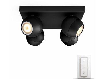 Philips Hue LED Spot Buckram schwarz 4flg. inkl. Dimmschalter. Der einf. Einstieg in Ihr Smart Home, schwarz, schwarz