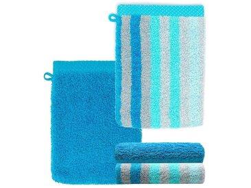 Lashuma Handtuch Set »Pure« (Set, 4-tlg), Waschlappen 4 teilig Gestreift und Uni, Saugstarke Frotteetücher 15x21 cm, blau, türkis