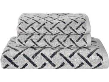 Dyckhoff Handtuch Set, »Stripes«, mit Muster und Bordüre versehen, grau, 3tlg.-Set (siehe Artikeltext), anthrazit