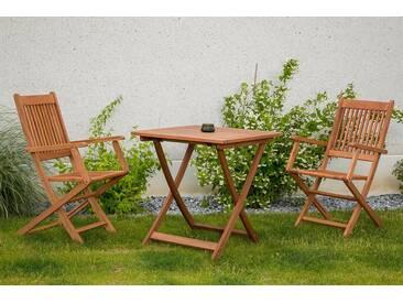 MERXX Gartenmöbelset »Rio«, 3tlg., 2 Sessel, Tisch, klappbar, Eukalyptusholz, natur, natur