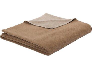 BIEDERLACK Wolldecke »Colourfoul«, im Uni Design, natur, Schurwolle-Baumwolle-Kunstfaser, beige