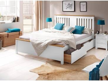 Home affaire Bett »Devi«, weiß, Liegefläche 140/200 cm, weiß/honigfarben