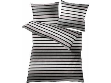 Kleine Wolke Bettwäsche »Neapel«, mit Streifen, grau, 1x 135x200 cm, Mako-Satin, grau
