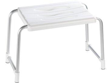 WENKO Duschhocker »Secura«, mit Anti-Rutsch-Füßen, weiß, weiß/silberfarben