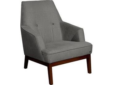 TOM TAILOR Sessel »COZY«, im Retrolook, mit Kedernaht und Knöpfung, Füße nussbaumfarben, grau, basalt STC 9