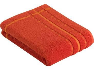 Vossen Badetuch »Atletico«, mit aufwändiger Bordüre, orange, Wirkfrottee, mandarin