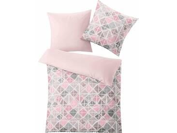 Kleine Wolke Bettwäsche »Mesh«, mit schönen Rautenvariation, rosa, 1x 155x220 cm, Mako-Satin, rosé