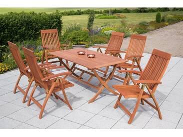 MERXX Gartenmöbelset »Commodoro«, 7tlg., 6 Sessel, Tisch, klappbar, Eukalyptusholz, natur, natur, natur