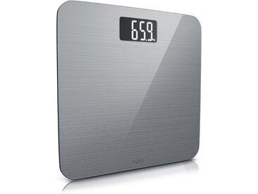 MyBeo digitale Personenwaage »6mm Sicherheitsglas / LCD-Display / max. 180 kg«, silberfarben, silber