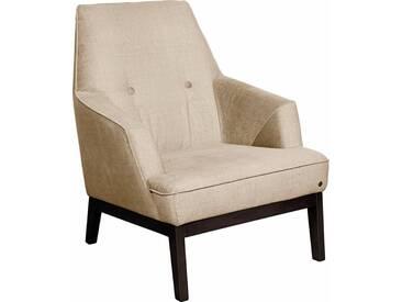 TOM TAILOR Sessel »COZY«, im Retrolook, mit Kedernaht und Knöpfung, Füße wengefarben, gelb, sahara STC 2