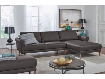 Hülsta Sofa hülsta sofa Polsterecke »hs.450« im modernen Landhausstil, Breite 262 cm, braun, Recamiere rechts, graubraun