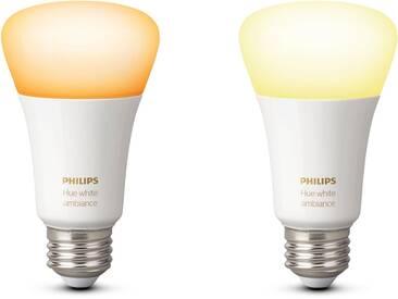 Philips Hue LED-Lichtsystem, E27, 2 Stück, Neutralweiß, Tageslichtweiß, Warmweiß, Extra-Warmweiß, Farbwechsler, smartes LED-Lichtsystem mit App-Steuerung