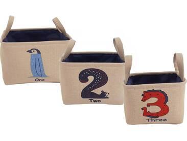 Franz Müller Flechtwaren Aufbewahrungsbox »Kids« (Set, 3 Stück), mit Zahlenaufdruck, natur, 202530x202530x141720 cm, beige-bunt