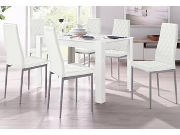 Essgruppe, mit Tisch in Weiß, Breite 120 cm (5-tlg.), weiß, Weiß mit Struktur/Weiß