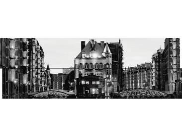 Artland Wandgarderobe »elxeneize: Speicherstadt in Hamburg - nachts«, weiß, 30 x 90 x 2,8 cm, Weiß