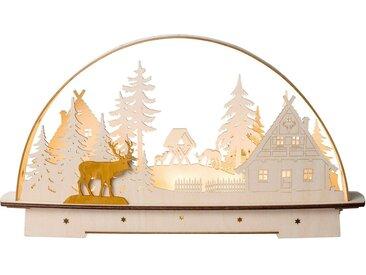 SAICO Original LED-Lichterbogen Waldhaus für Batteriebetrieb mit Timer, natur, Natur