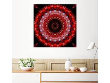 Posterlounge Wandbild - Christine Bässler »Mandala Lebenslust«, rot, Alu-Dibond, 120 x 120 cm, rot
