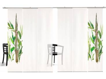 emotion textiles Schiebegardine »Bambus TR«, Klettband (6 Stück), inkl. Befestigungszubehör, grün, Klettband, transparent, grün-weiß