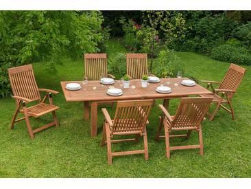 MERXX Gartenmöbelset »Commodoro«, 7tlg., 6 Sessel, Tisch, klappbar, ausziehbar, Eukalyptus, natur, natur