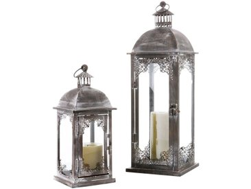 Laterne aus Metall, in 2 Größen, grau, Höhe ca. 30 cm, Grau, im Antik-Finish-Look