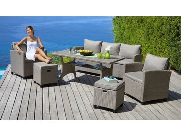 KONIFERA Loungeset »Amsterdam«, 16-tlg., 3er Sofa, 2 Sessel, 2 Hocker, Tisch, Polyrattan, natur, beige