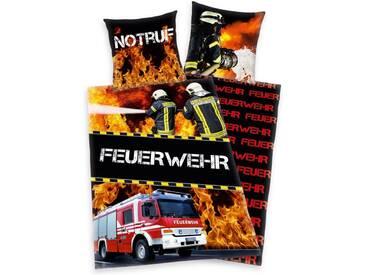Young Collection Kinderbettwäsche »Feuerwehrmann Sam«, mit Feuerwehrmann Motiv, schwarz, 1x 135x200 cm, Renforcé, rot-schwarz