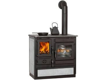 Globefire GLOBEFIRE Festbrennstoffherd »Alhena Sertin«, Naturstein, 7 kW, Dauerbrand, grau, links, grau