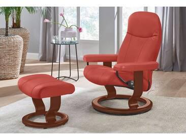 Stressless® Set: Relaxsessel mit Hocker »Garda« mit Classic Base, Größe S, mit Schlaffunktion, rot, Fuß braun, henna