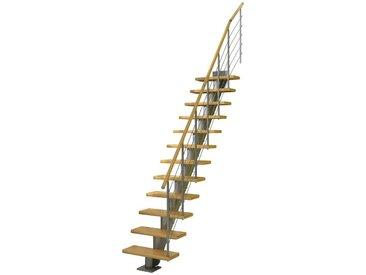 Dolle DOLLE Mittelholmtreppe »Frankfurt Birke 65«, bis 301 cm, Edelstahlgeländer, versch. Ausführungen, natur, gerade, natur
