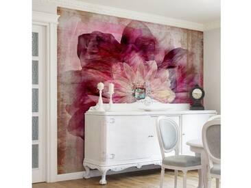 Bilderwelten Vliestapete Blumen Quadrat »Grunge Flower«, rosa, 288x288 cm, Pink