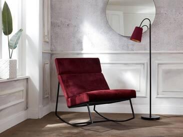 Guido Maria Kretschmer Home&Living GMK Home & Living Schaukelstuhl »Soel« mit modernen Metallgestell und weichem Samtvelours Bezug, rot, bordeauxrot