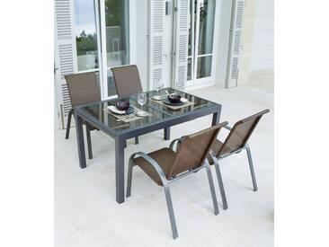 MERXX Gartenmöbelset »Côte d´Azur«, 5-tlg., 4 Sessel, Tisch 180x90x75 cm, grau, grau, grau