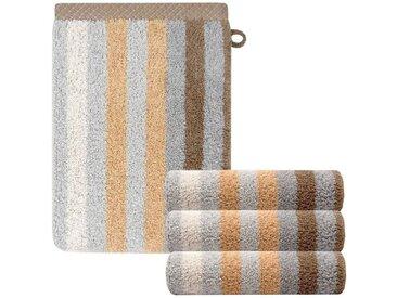 Lashuma Handtuch Set »Pure« (Set, 4-tlg), 4 Stück Weiche Waschlappen, Gestreifte Frotteetücher 15x21 cm, goldfarben, sandbeige