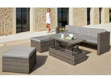 KONIFERA Loungeset »Lagos Premium«, 13-tlg., 3er-Sofa, 3 Hocker, Tisch, Polyrattan, braun, braun