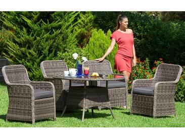 Komplett-Set: Gartenmöbelset »Korsika«, 9-tlg., 4 Sessel, Tisch Ø 120 cm, Polyrattan, inkl. Auflage, natur, natur