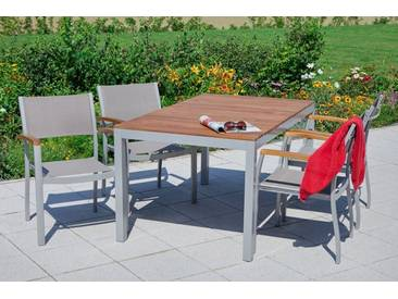 MERXX Gartenmöbelset »Naxos«, 5tlg., 4 Sessel, Tisch, stapelbar, Akazienholz/Textil, natur, natur