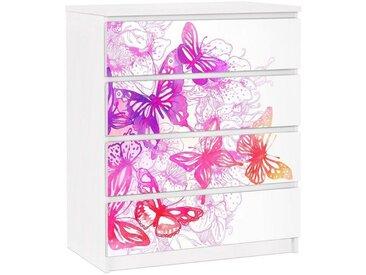 Bilderwelten Möbelfolie für IKEA Malm Kommode »Schmetterlingstraum«, bunt, Farbig