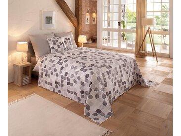 my home Tagesdecke »Diane«, auch als Tischdecke und Sofaläufer einsetzbar, weiß, Baumwolle, weiß-grau