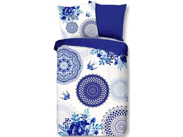 hip Wendebettwäsche »Grande«, mit Mandala und Schwalben, blau, 1x 135x200 cm, Satin, blau