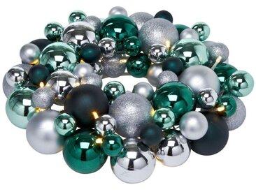 Dekokranz, LED Wandkranz mit Kunststoffkugeln, grün, silberfarben-smaragdfarben