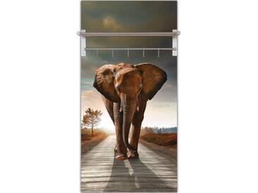 Artland Wandgarderobe »C. Caetano: Elefant Straße Sonne Rücken«, braun, 120 x 60 x 2,8 cm, Braun