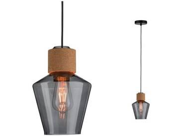 Paulmann LED Pendelleuchte »Edla Rauchglas/Kork/Schwarz max. 20W E27«, 1-flammig, grau, 1 -flg. /, transparent-rauchgrau-braun-schwarz