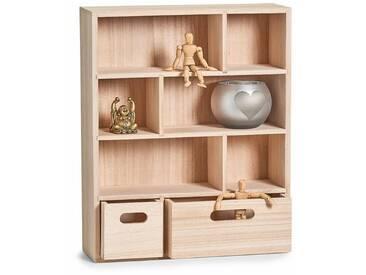 Zeller Present Zeller Wand-Regal m. Schubladen, Holz 46x35x11, natur, natur