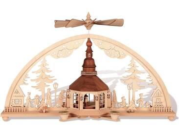 rauta Schwibbogen »Seiffener Kirche im Bogen« (1-tlg), Mit Pyramidenkerzen, natur, natur