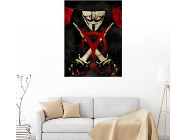 Posterlounge Wandbild - Albert Cagnef »V pour Vendetta«, schwarz, Holzbild, 120 x 160 cm, schwarz