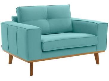 Guido Maria Kretschmer Home&Living GMK Home & Living Sessel »Janis«, Leinen oder NaturLEDER mit Eichen-Füßen und Außennaht, grün, mint